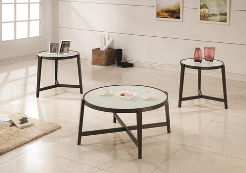 COASTER 700180 3PC FROSTED GLASS TOP COFFEE TABLE SET W/ WOOD LEGS