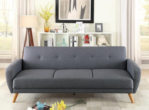 Blue Grey Fabric Adjustable Sofa Bed Futon F6851