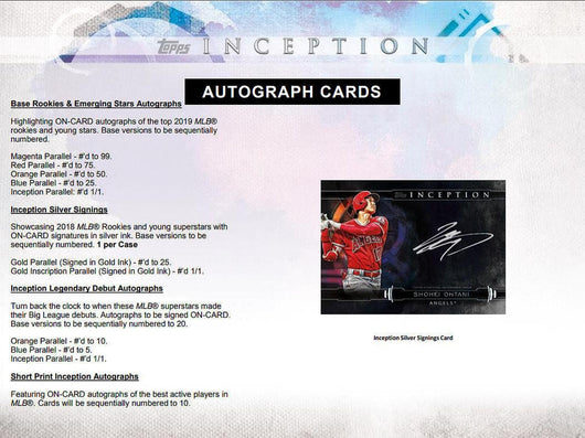 2019 TOPPS INCEPTION BASEBALL HOBBY 16-BOX CASE PYT # 1AAA  PRE SELL FRIDAY