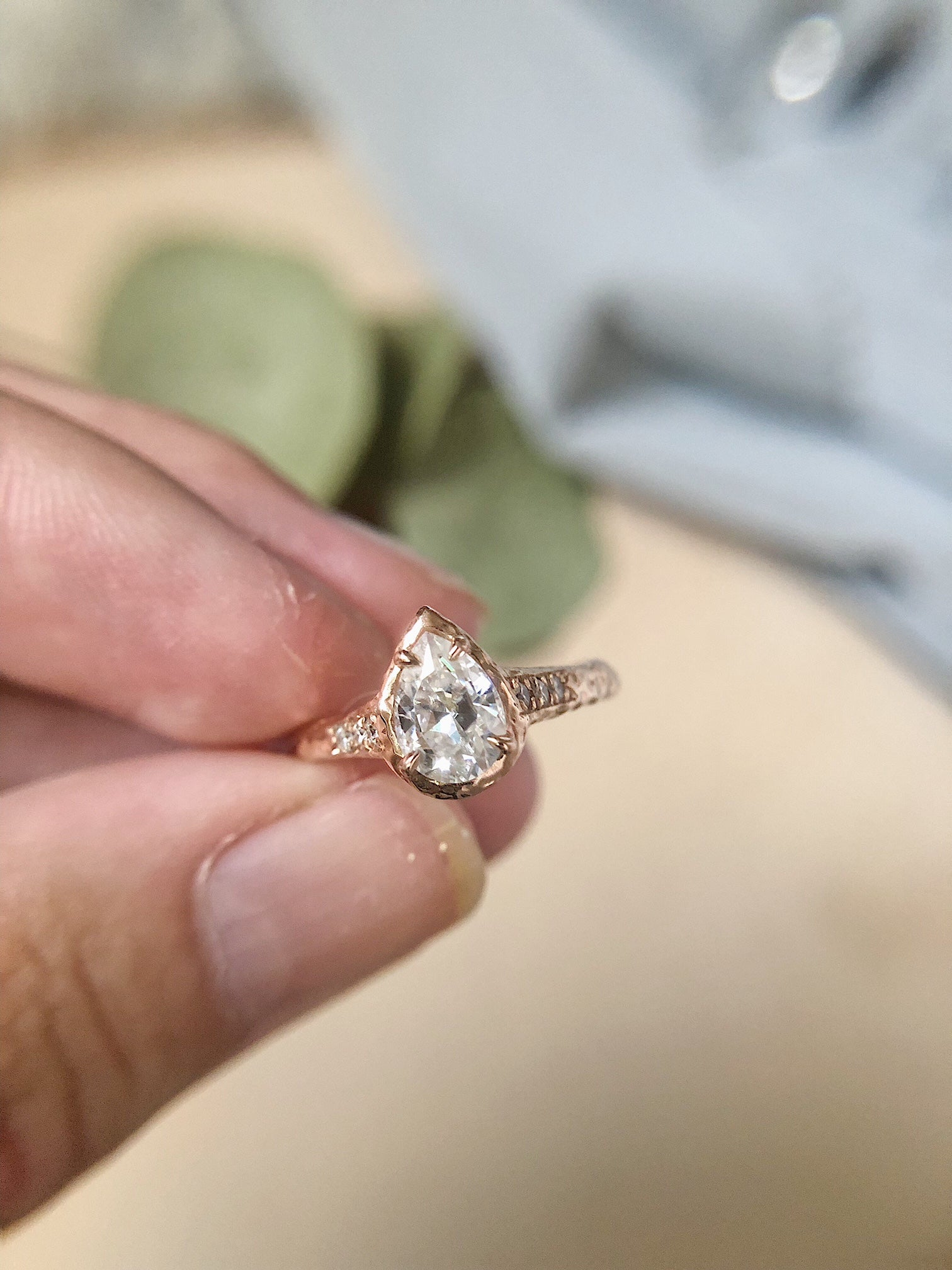 Rustic Moissanite Engagement Ring