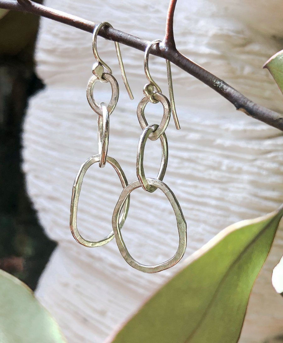 large-silver-link-earrings