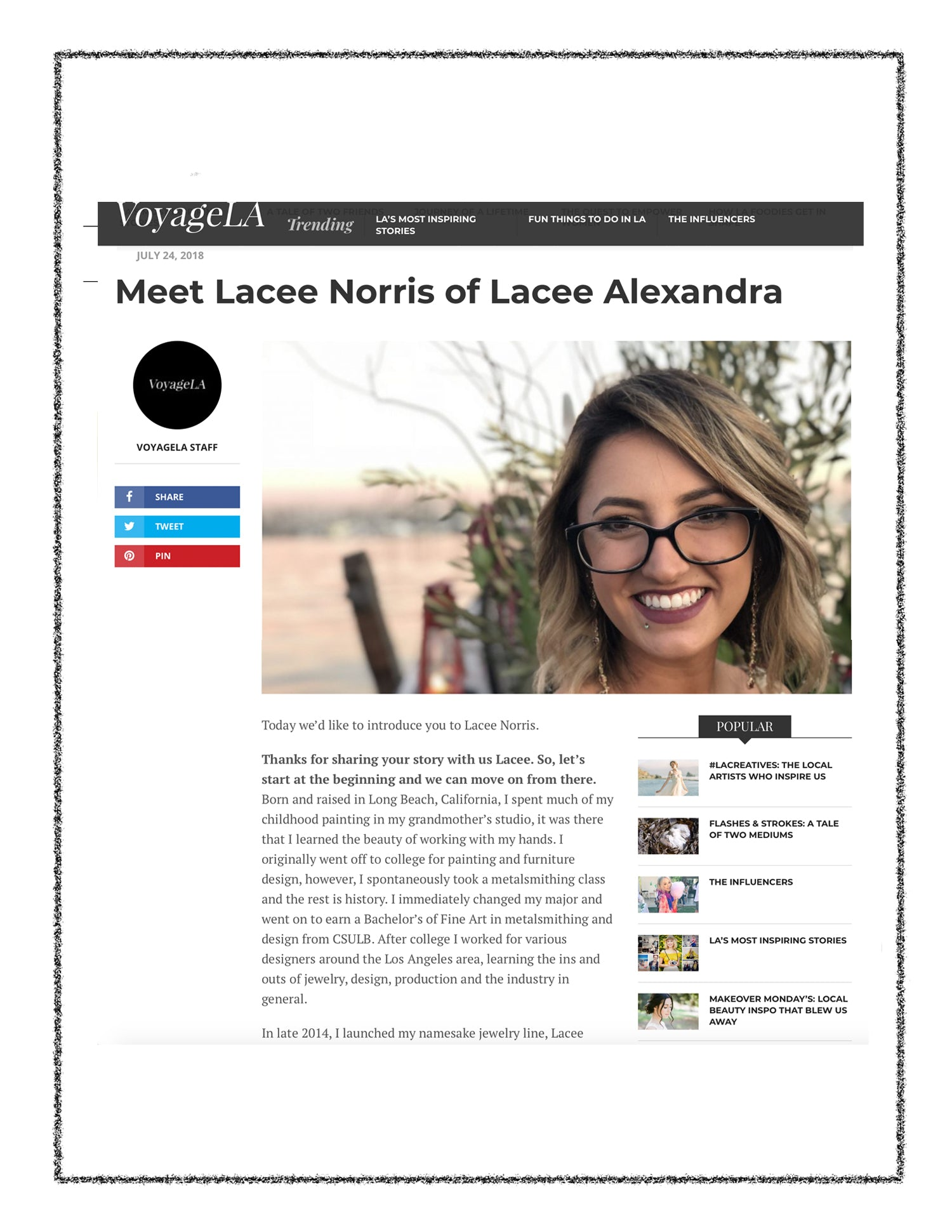 Voyage LA interview with Lacee Alexandra