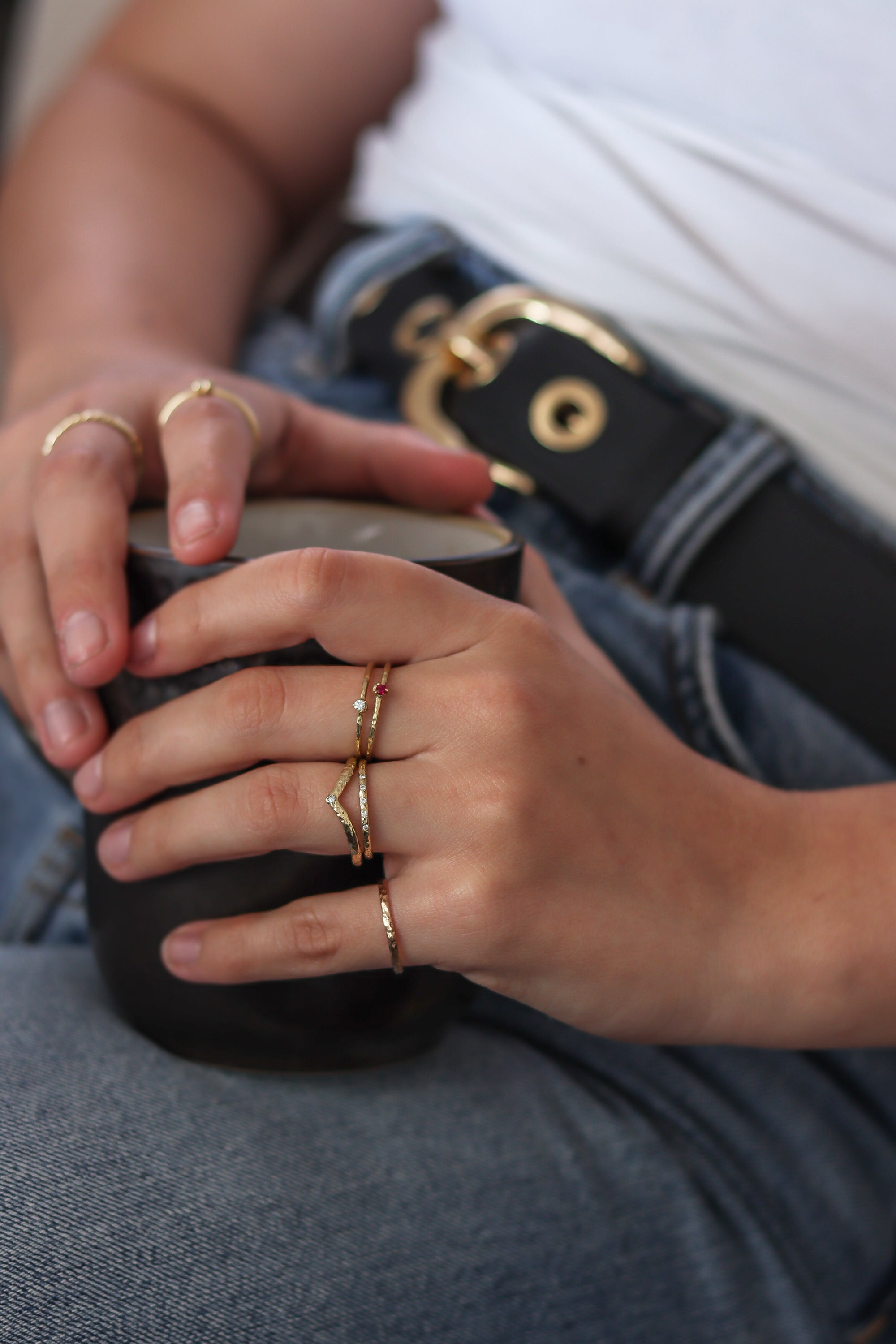casual-work-from-home-levis-tshirt-stacking-rings