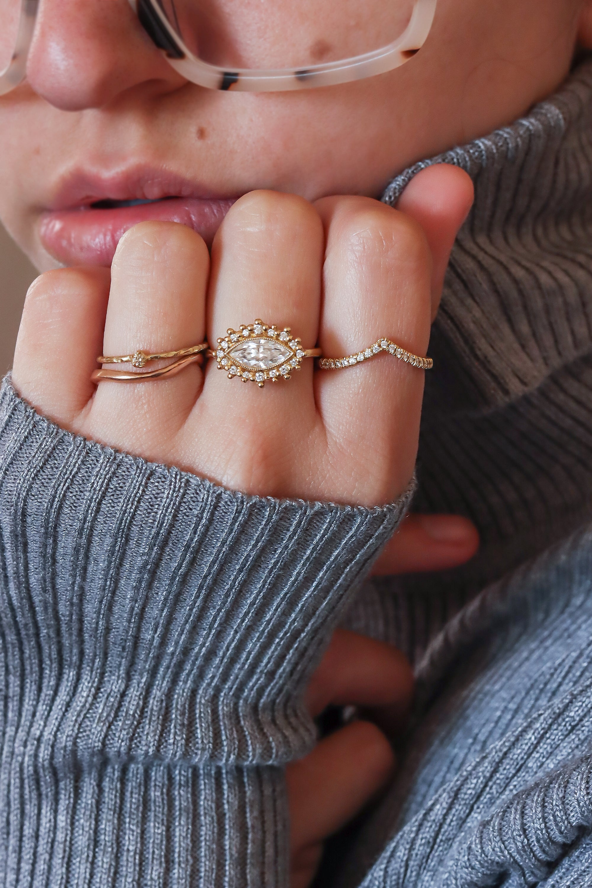 cozy-sweater-gold-stacking-rings-statement-rings