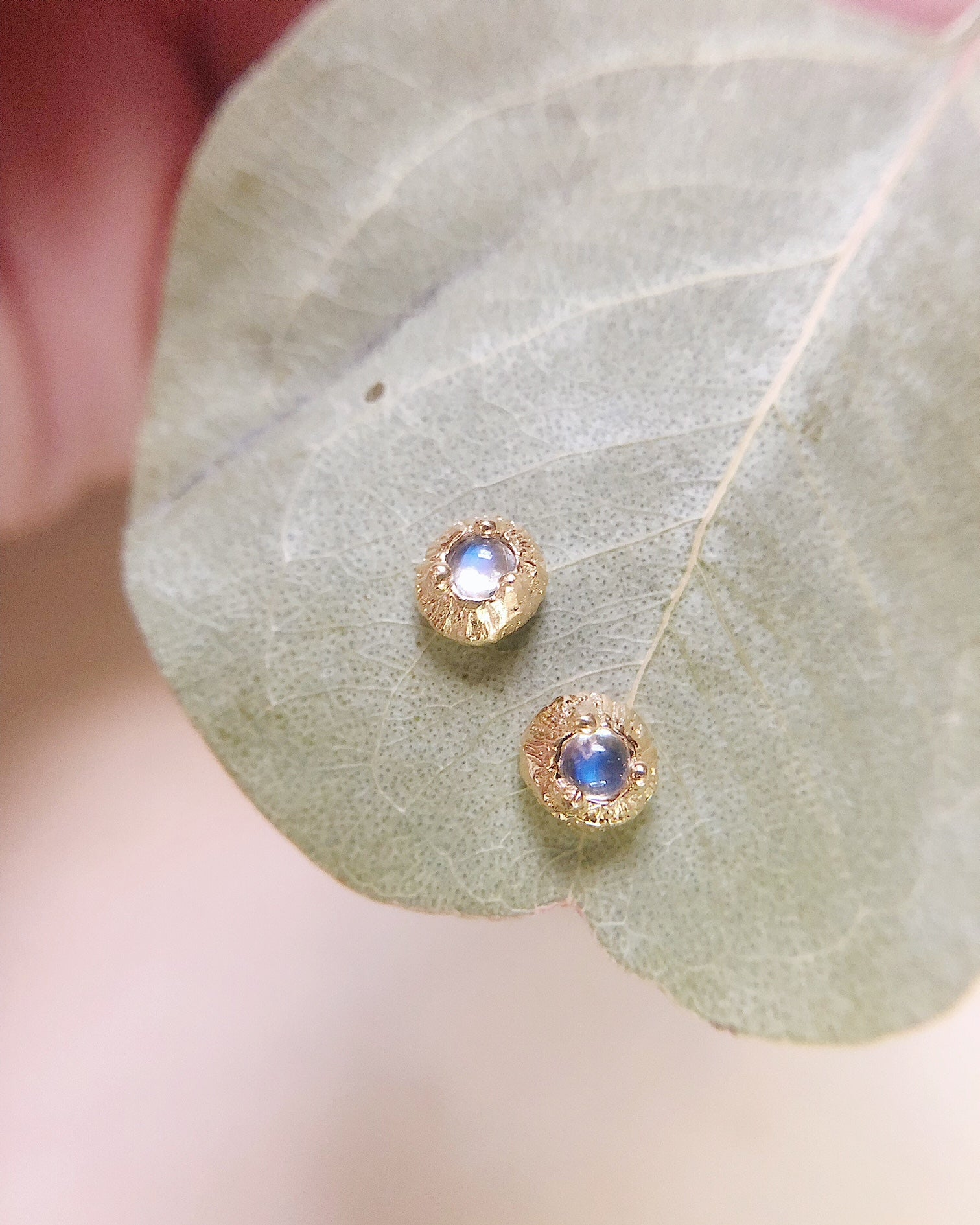 Delicate Gold Moonstone Studs