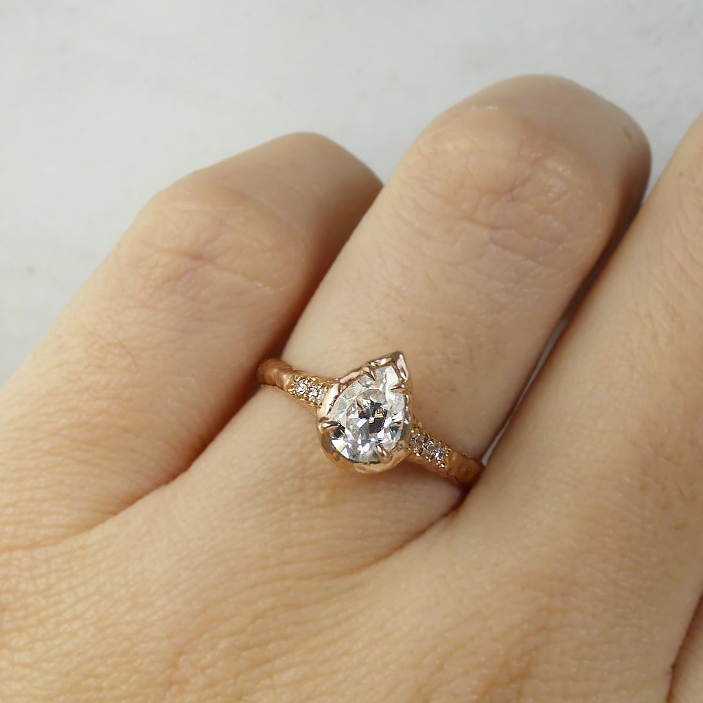 Rustic Pear Shaped Engagement ring