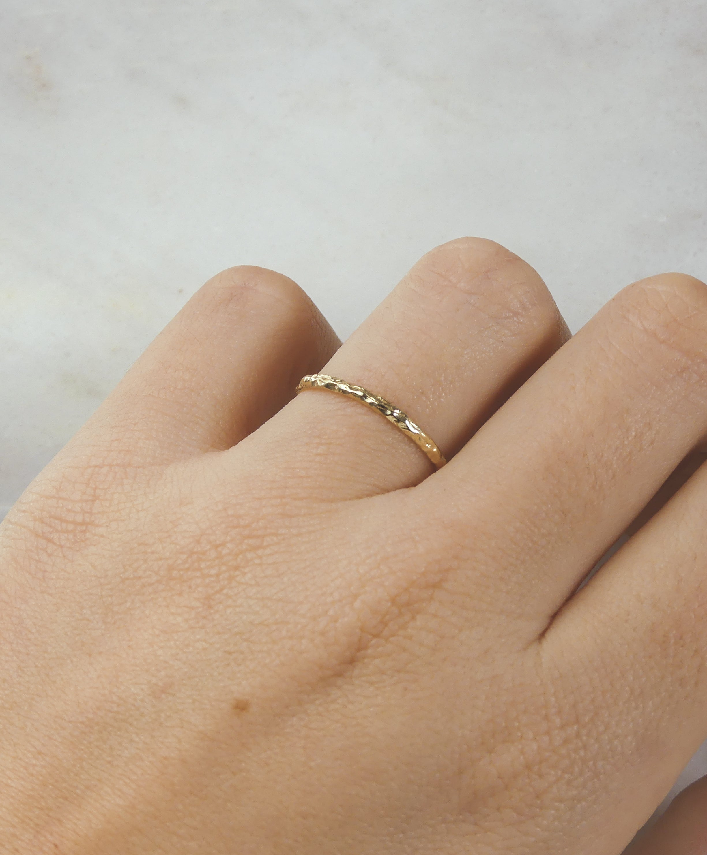 Solid Gold Textured Dainty Band