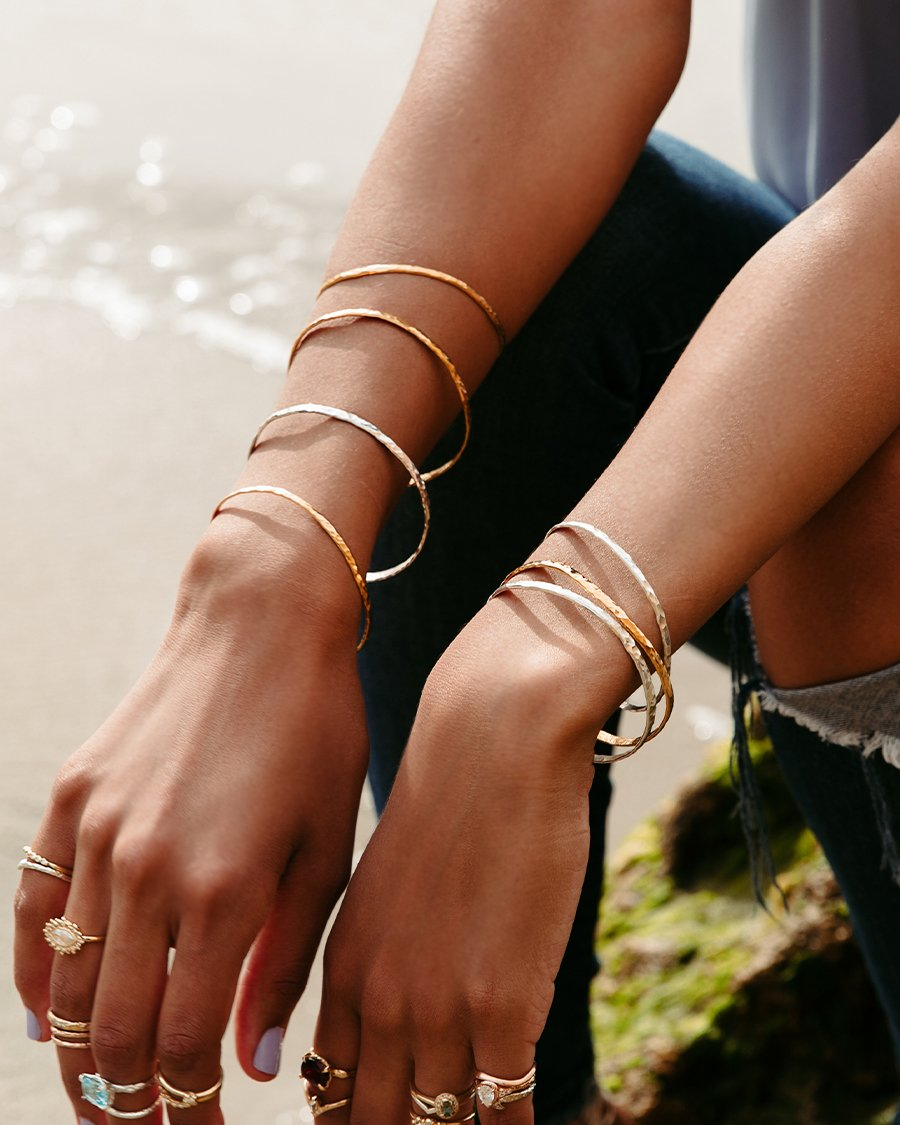 mixed-metals-hammered-bracelets