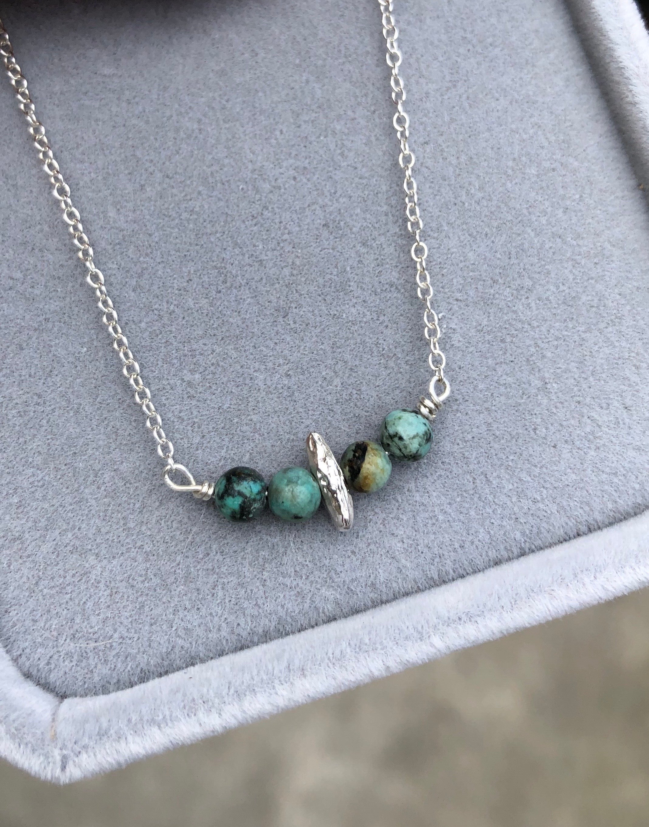 Sterling silver turquoise necklace in gift box