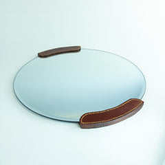 Hand Stitched Leather Framed Mirror - 14 inch