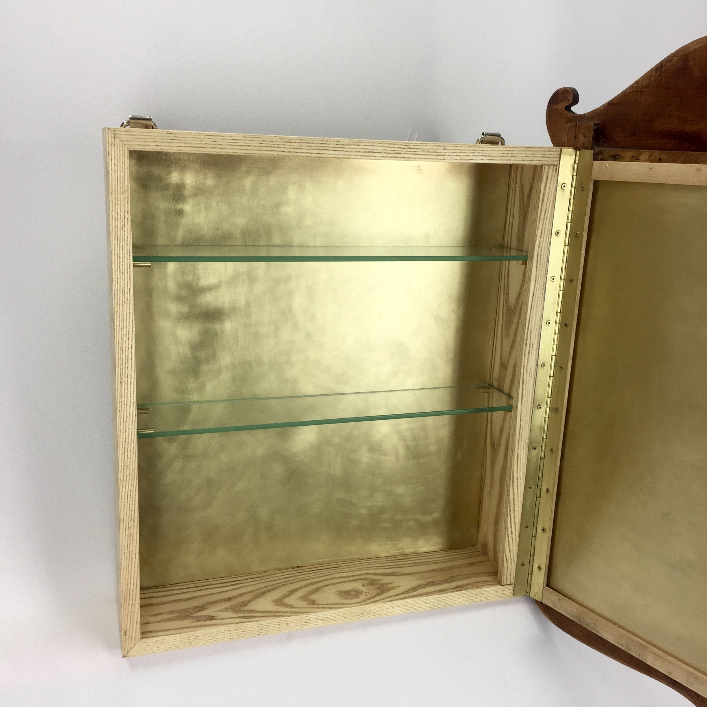 Wood and Brass Medicine Cabinet