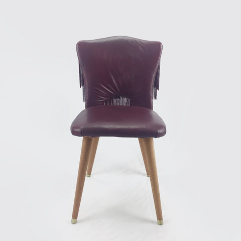 burgundy leather mid century modern chair