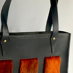 hand stitched bison leather boxy purse