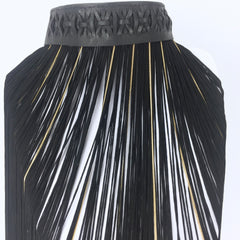 Woven Leather Collar With Fringe