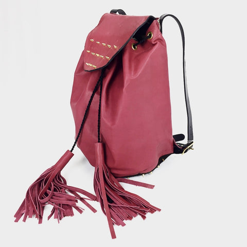 Red Leather Drawstring Backpack
