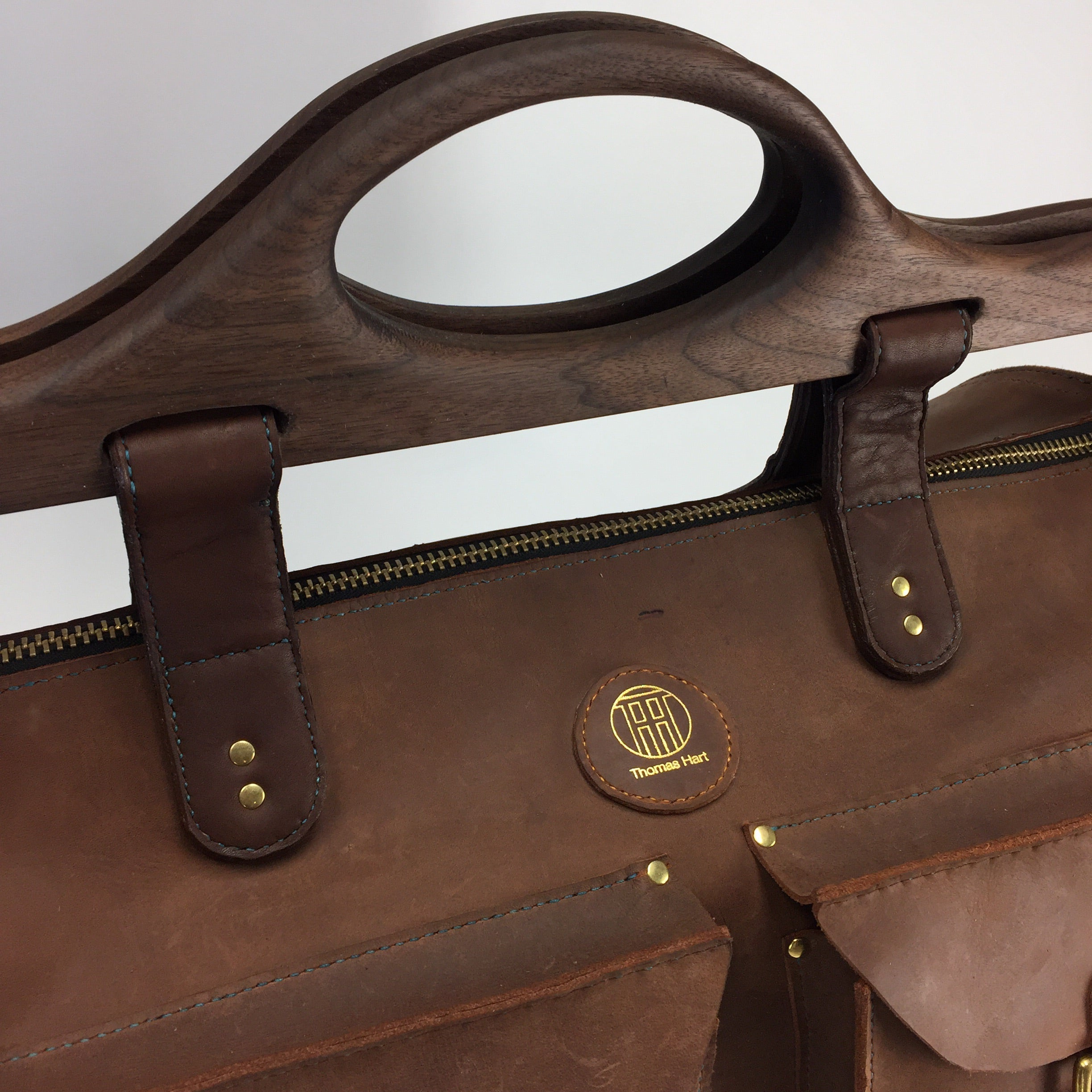 Walnut wood duffle bag handle