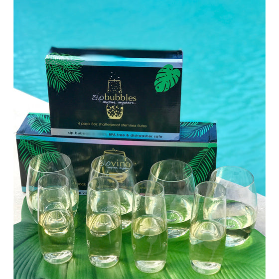 Combination pack (1 pack of 4 sip bubbles + 1 pack of 4 sip vino)