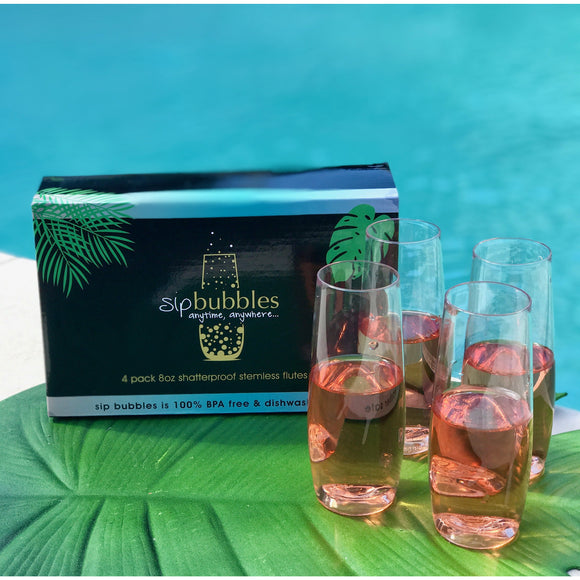 The 'ultimate sparkle' sip bubbles pack  (4 pack champagne flutes + tote + sip bubbles slips)