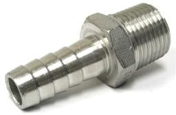 "STAINLESS STEEL 3/8"" BARBED HOSE FITTING - 1/2"" MALE NPT"