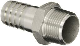 "STAINLESS STEEL 1/2"" BARBED HOSE FITTING - 1/2"" MALE NPT"