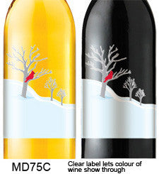 Cardinal in Snow 75 Custom Wine Labels Set of 30