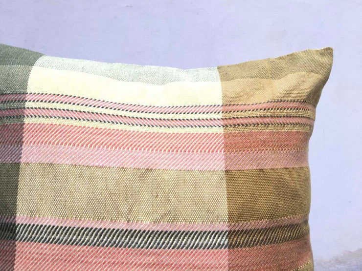 WIVO série ocre jaune vert Grand coussin tissé main pièce unique / Handwoven big cushion one-of-a-kind
