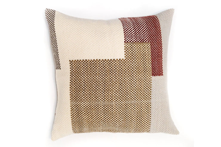 WIVO kaki Grand coussin tissé main pièce unique / Handwoven big cushion one-of-a-kind