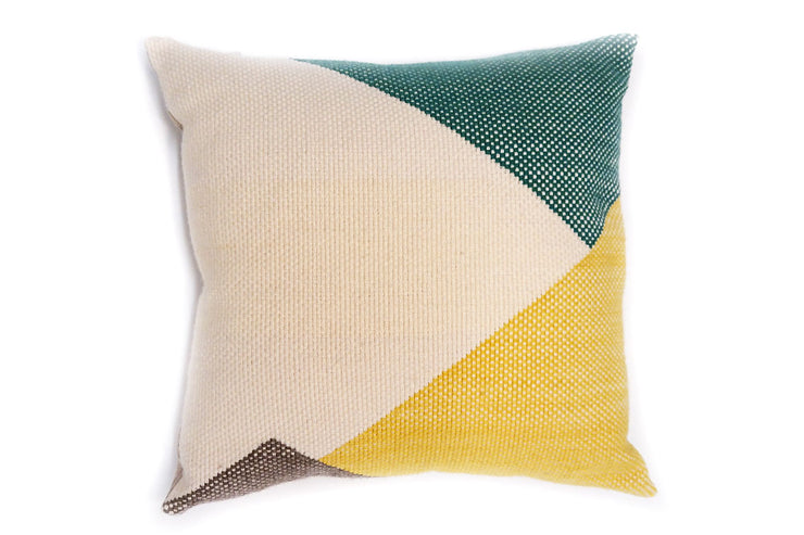 WIVO jaune vert Grand coussin tissé main pièce unique / Handwoven big cushion one-of-a-kind