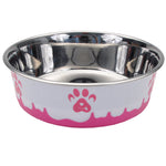 Non-Skid Paw Design Dog Bowls by Maslow, Pink