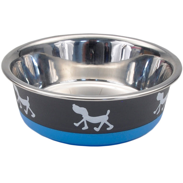 Non-Skid Pup Design Dog Bowls by Maslow, Blue