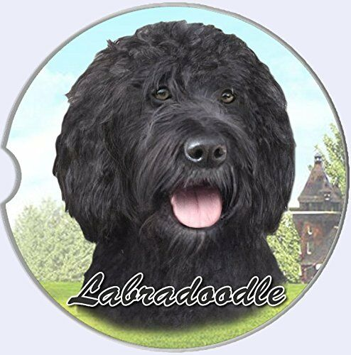 Black Labradoodle Car Coaster