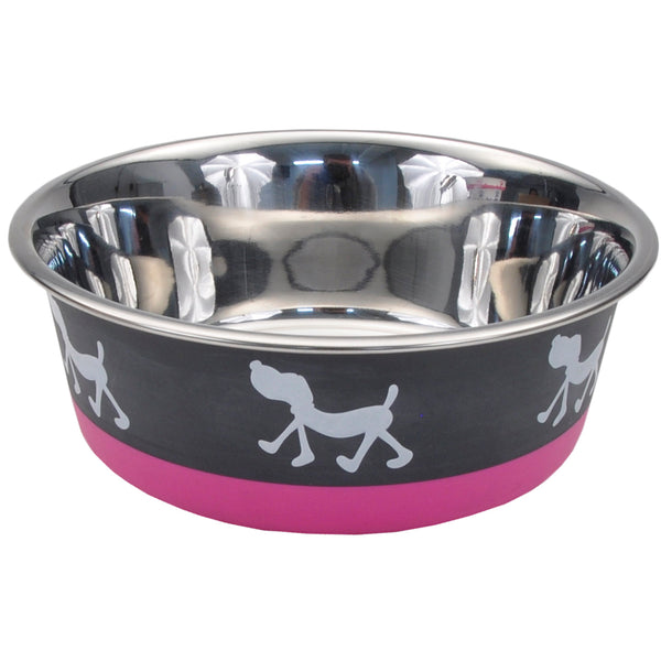 Non-Skid Pup Design Dog Bowls by Maslow, Pink