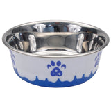 Non-Skid Paw Design Dog Bowls by Maslow, Blue