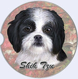 Black & White Shih Tzu Puppy Car Coaster