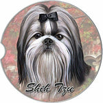 Black & White Shih Tzu Car Coaster