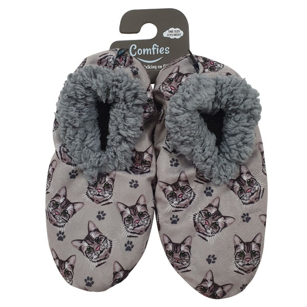 Cat (Silver Tabby) Slippers - Comfies
