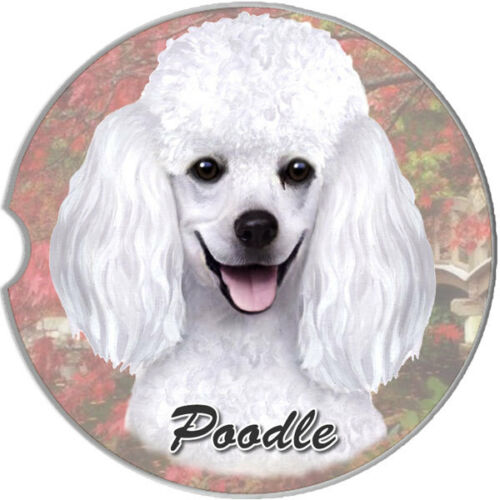 White Poodle Car Coaster