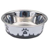 Non-Skid Paw Design Dog Bowls by Maslow, Grey
