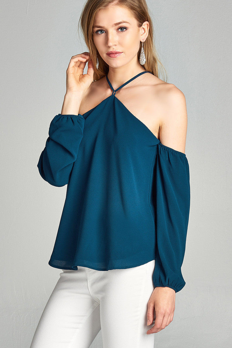 Open Shoulder Teal Top