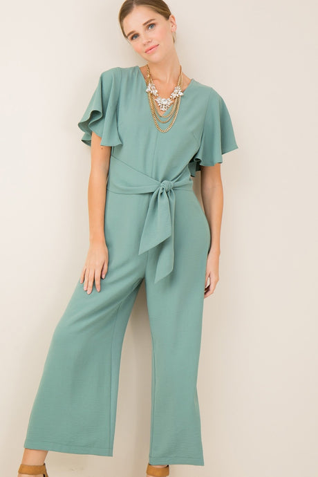 Sage V-Neck Jumpsuit