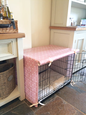 Pink Dog Crate Cover in Kitchen