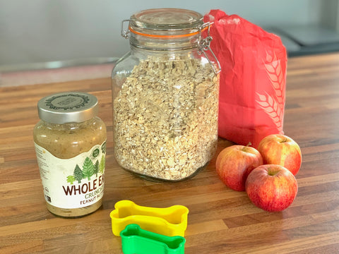 Dog Biscuit Recipe Ingredients Oats Flours Apples Peanut Butter