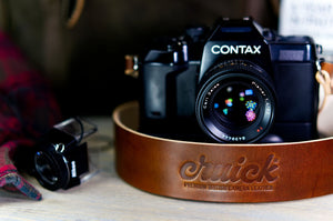 Cruick Luxus Pro - Ultra Premium Leather Camera Strap - Oak & Umber Brown