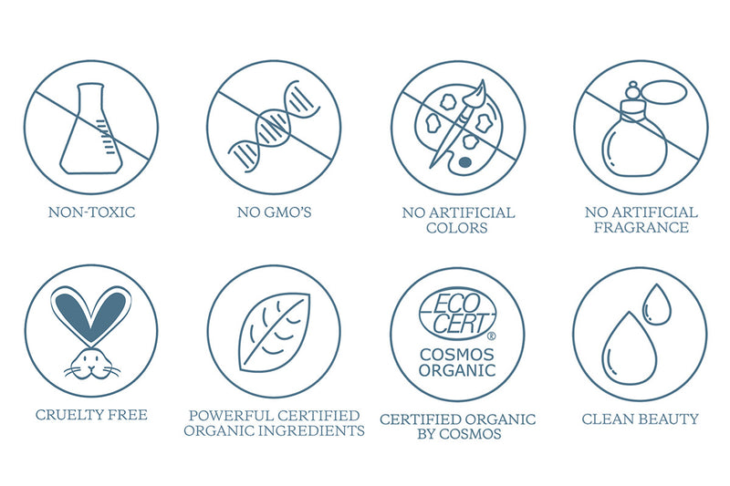 KORA's clean beauty code illustrations. Non-Toxic, No GMO's, No Artificial Colors, No Artificial Fragrance, Cruelty Free, Powerful Certified Organic Ingredients, Certified Organic By Cosmos, Clean Beauty.