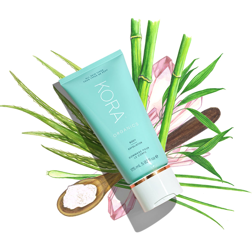 Our Body Exfoliator delivers powerful results THANKS TO its potent blend of active ingredients—Aloe Vera, Bamboo Stem Extract, Diatomaceous Earth, and Lemongrass Essential Oil. At KORA Organics, we believe that there is: BEAUTY IN THE BLEND.