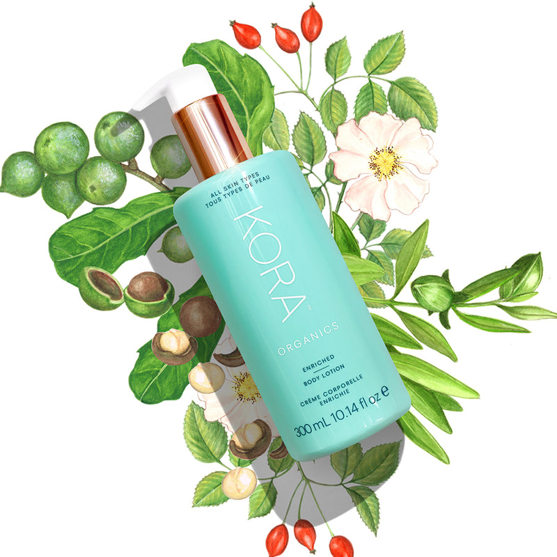 Our Enriched Body Lotion delivers powerful results THANKS TO its potent blend of active ingredients—Jojoba Oil, Macadamia Nut Oil, Cocoa Butter, Rosehip Oil and Sandalwood. At KORA Organics, we believe that there is: BEAUTY IN THE BLEND.