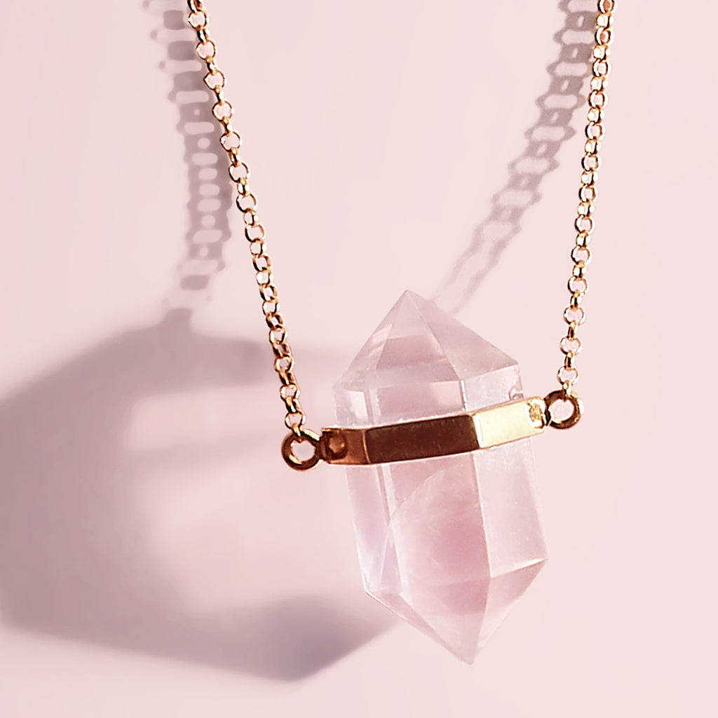 Rose Quartz Crystal Necklace | Large Point