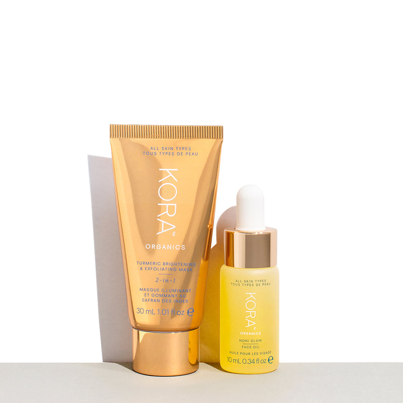 Instant Facial Glow On-the-Go Collection, Includes: Turmeric Brightening & Exfoliating Mask, 2-In-1 30mL & Noni Glow Face Oil 10 mL. Great for trial, travel or as a gift! KORA Organics by Miranda Kerr