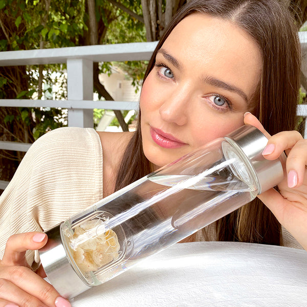 """Citrine is one of my favorite crystal and I love using this gorgeous bottle — each time I see it I'm inspired & reminded to drink my water! Drinking enough water every day is so important for our health."" – Miranda"