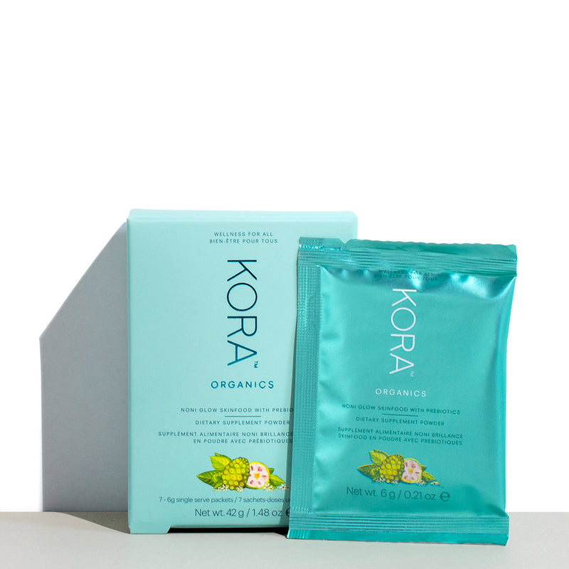 Noni Glow Skinfood Dietary Supplement Powder - 7 Sachets. A potent, certified organic, nutrient-dense superfood supplement for your daily beauty and wellness benefits, inside & out. KORA Organics
